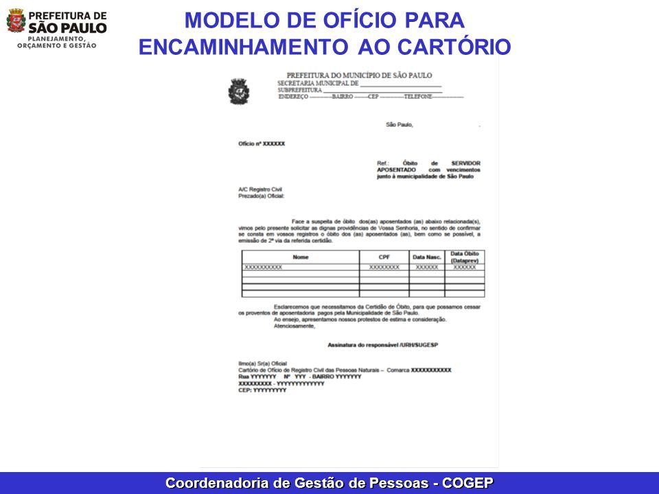 MODELO DE OFÍCIO PARA ENCAMINHAMENTO AO CARTÓRIO