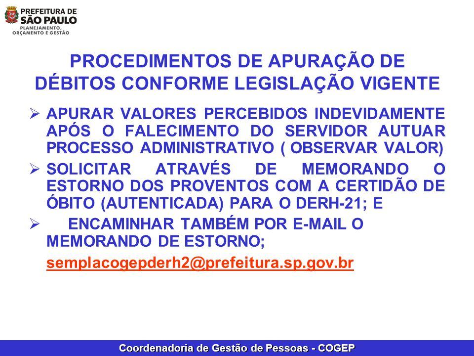 PROCEDIMENTOS DE APURAÇÃO DE DÉBITOS CONFORME LEGISLAÇÃO VIGENTE