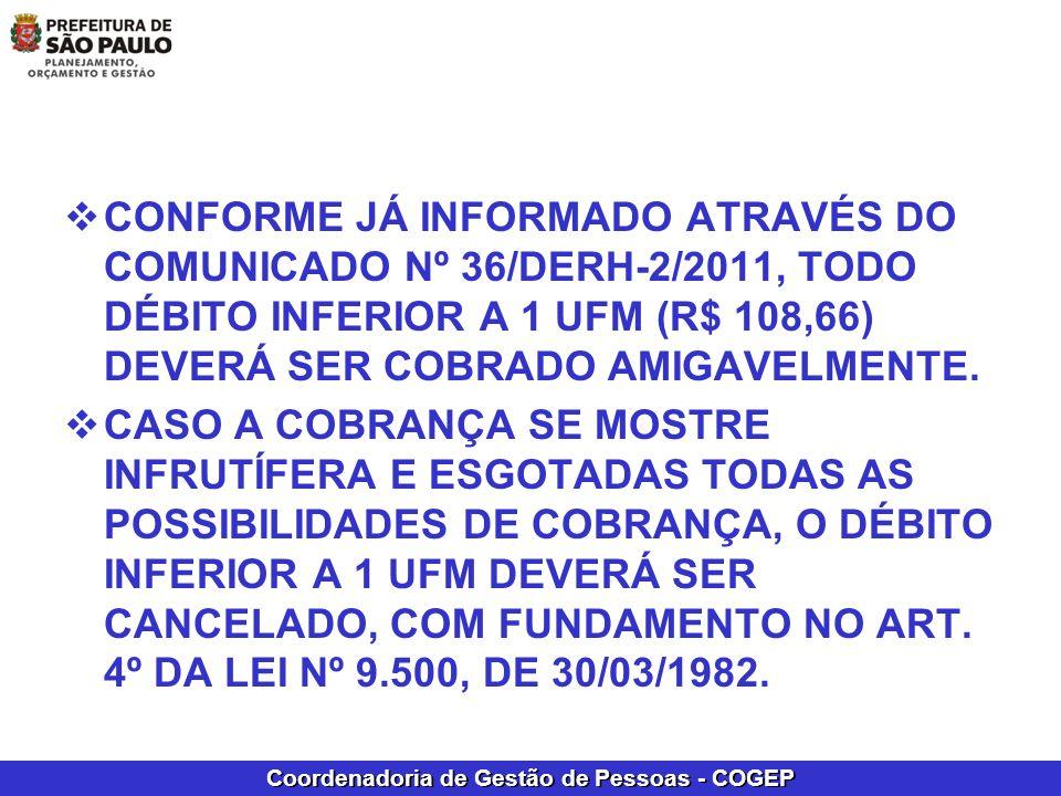 CONFORME JÁ INFORMADO ATRAVÉS DO COMUNICADO Nº 36/DERH-2/2011, TODO DÉBITO INFERIOR A 1 UFM (R$ 108,66) DEVERÁ SER COBRADO AMIGAVELMENTE.