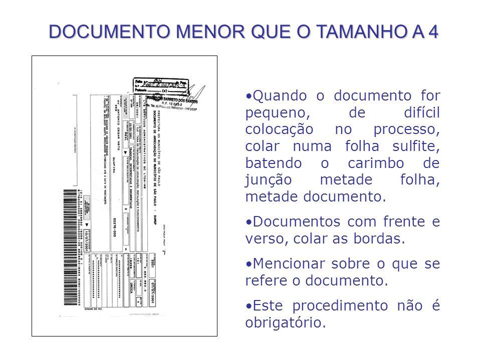 DOCUMENTO MENOR QUE O TAMANHO A 4