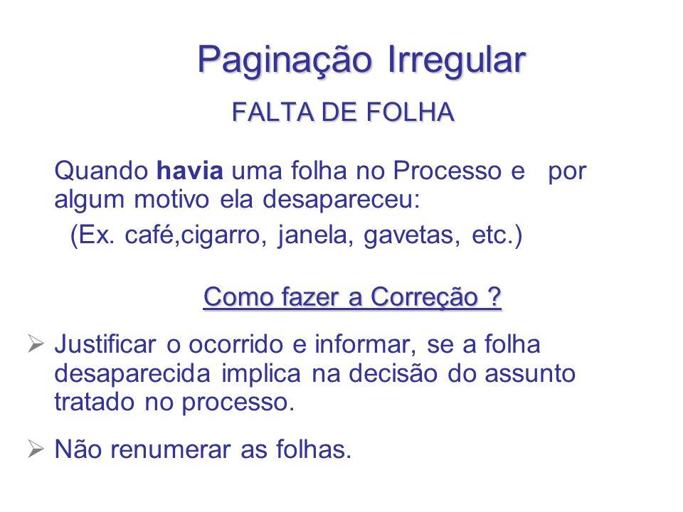 Paginação Irregular FALTA DE FOLHA