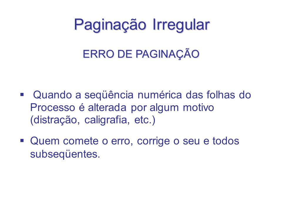 Paginação Irregular ERRO DE PAGINAÇÃO