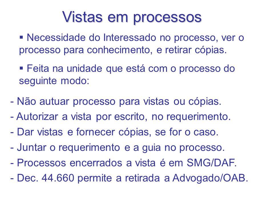 Vistas em processos Não autuar processo para vistas ou cópias.