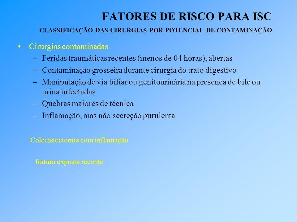 FATORES DE RISCO PARA ISC CLASSIFICAÇÃO DAS CIRURGIAS POR POTENCIAL DE CONTAMINAÇÃO