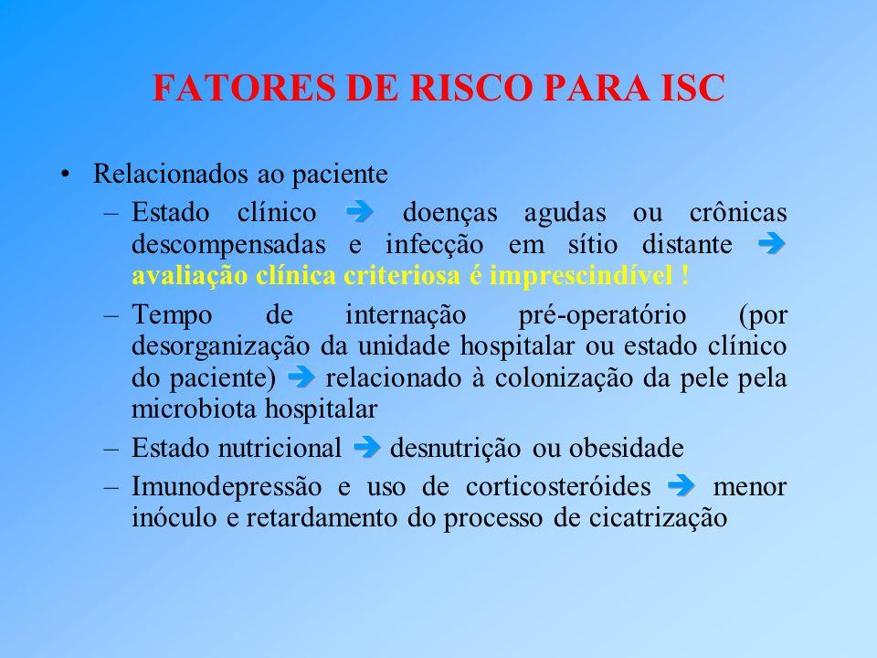 FATORES DE RISCO PARA ISC