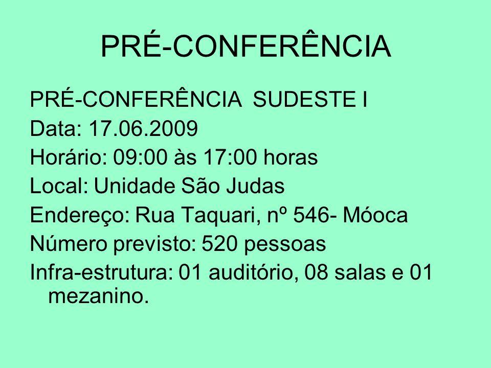 PRÉ-CONFERÊNCIA PRÉ-CONFERÊNCIA SUDESTE I Data: 17.06.2009