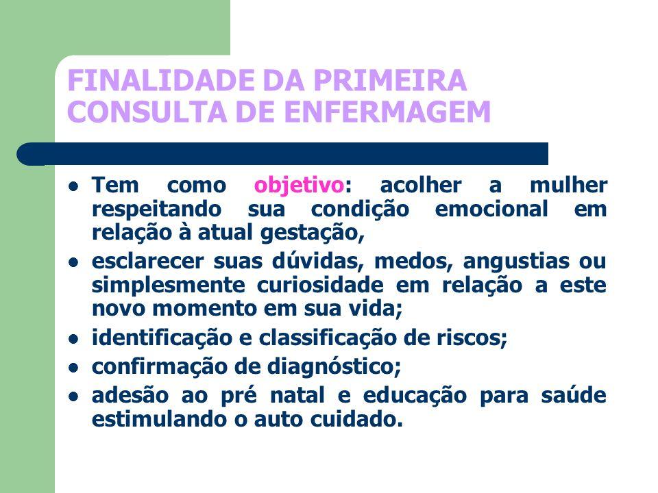 FINALIDADE DA PRIMEIRA CONSULTA DE ENFERMAGEM