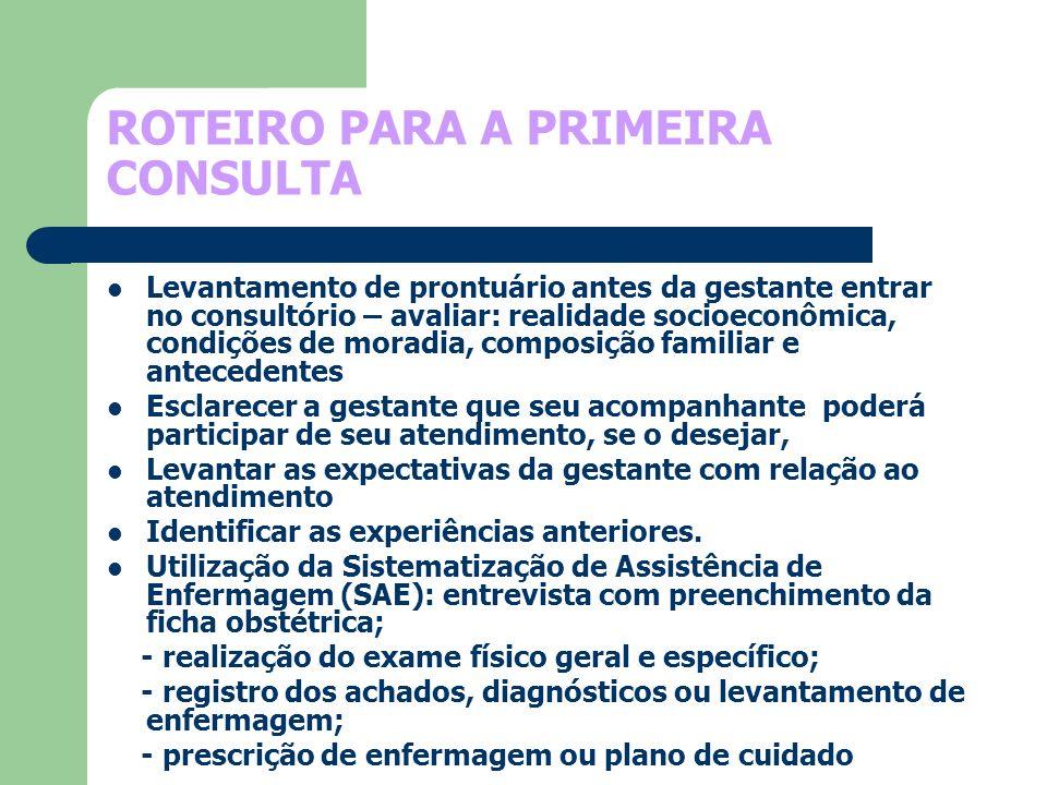 ROTEIRO PARA A PRIMEIRA CONSULTA