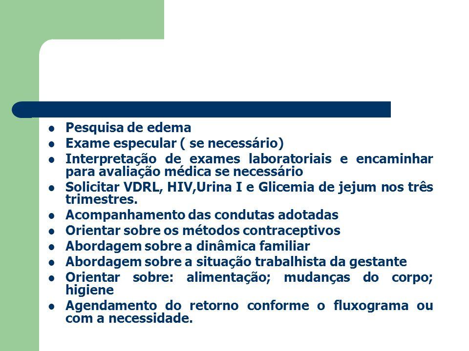 Pesquisa de edema Exame especular ( se necessário) Interpretação de exames laboratoriais e encaminhar para avaliação médica se necessário.