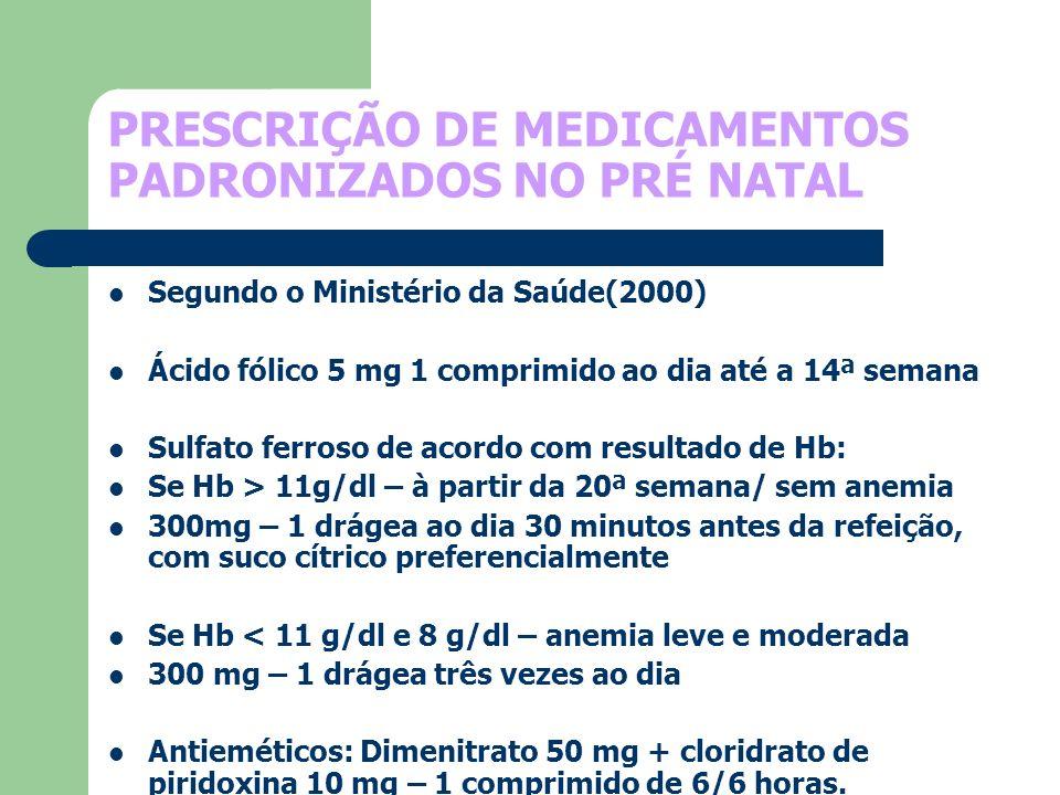 PRESCRIÇÃO DE MEDICAMENTOS PADRONIZADOS NO PRÉ NATAL