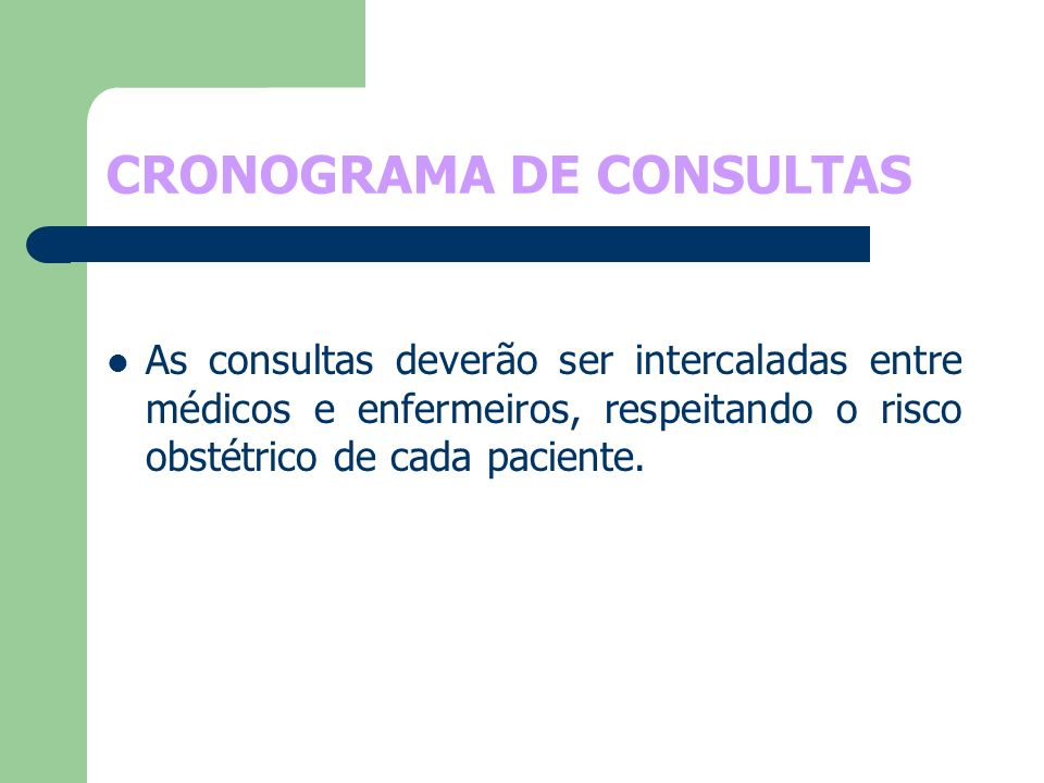 CRONOGRAMA DE CONSULTAS