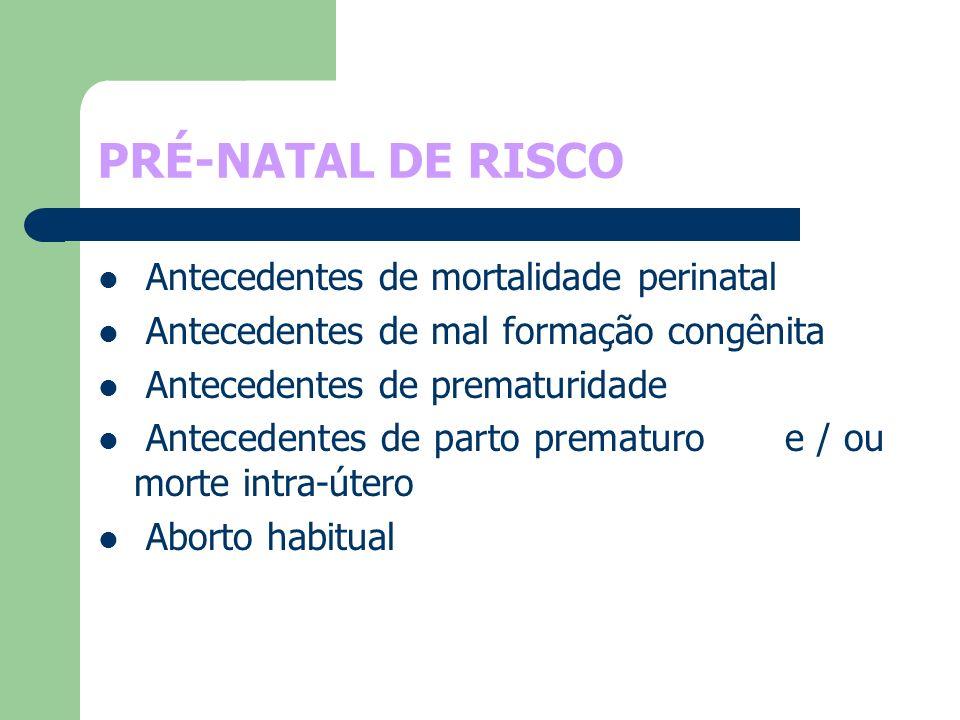 PRÉ-NATAL DE RISCO Antecedentes de mortalidade perinatal