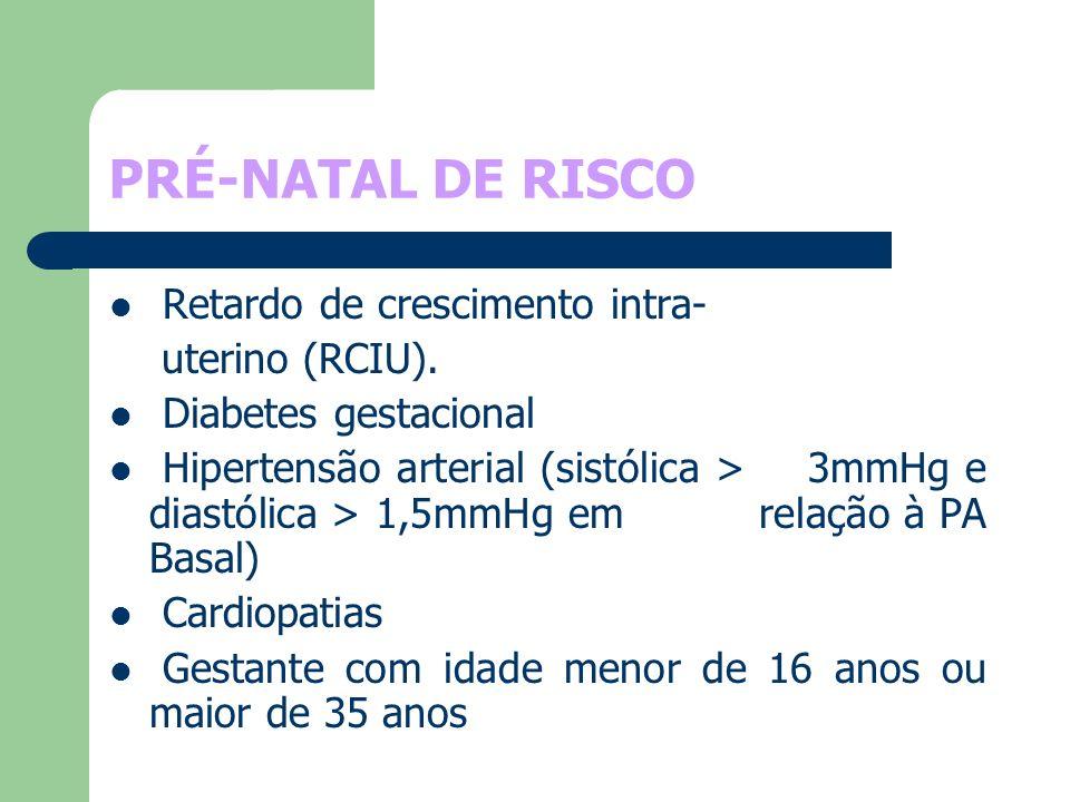 PRÉ-NATAL DE RISCO Retardo de crescimento intra- uterino (RCIU).