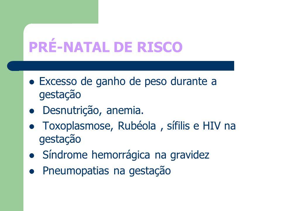 PRÉ-NATAL DE RISCO Excesso de ganho de peso durante a gestação