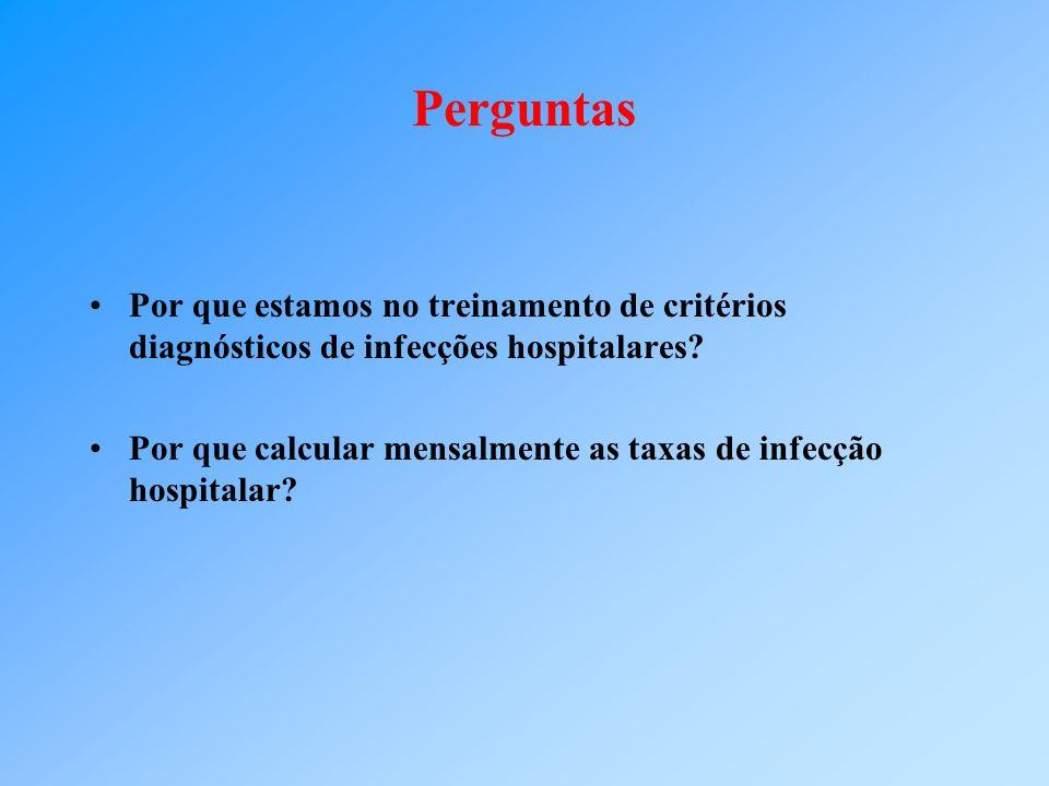 Perguntas Por que estamos no treinamento de critérios diagnósticos de infecções hospitalares