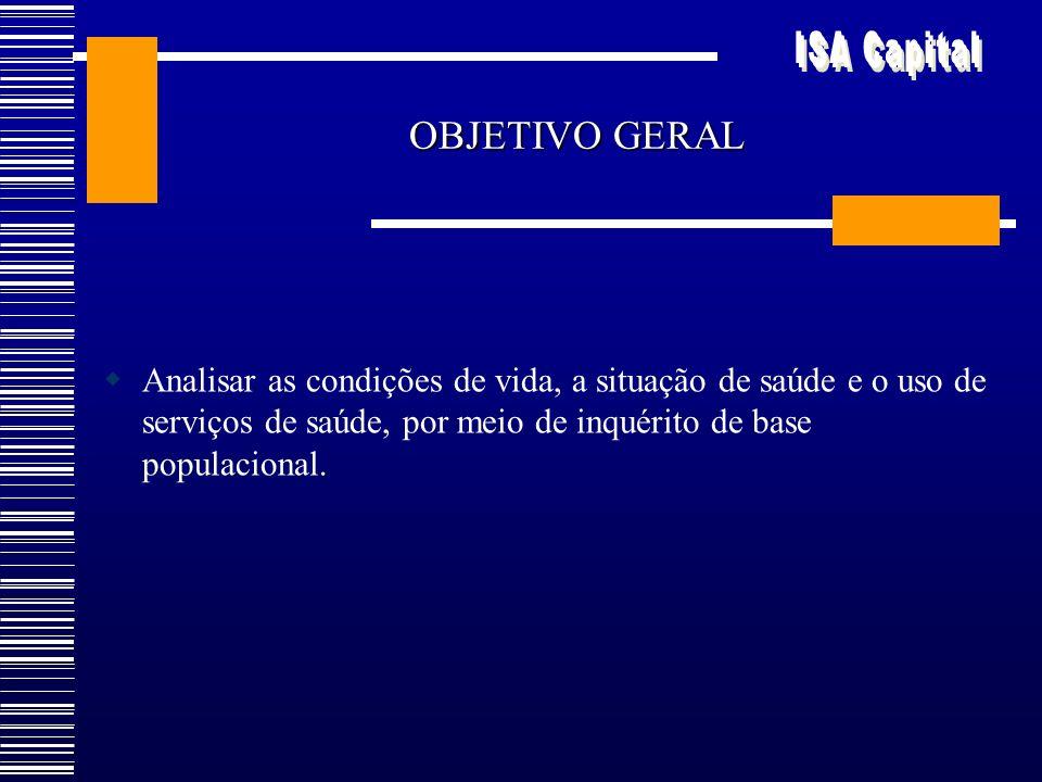 OBJETIVO GERAL Analisar as condições de vida, a situação de saúde e o uso de serviços de saúde, por meio de inquérito de base populacional.