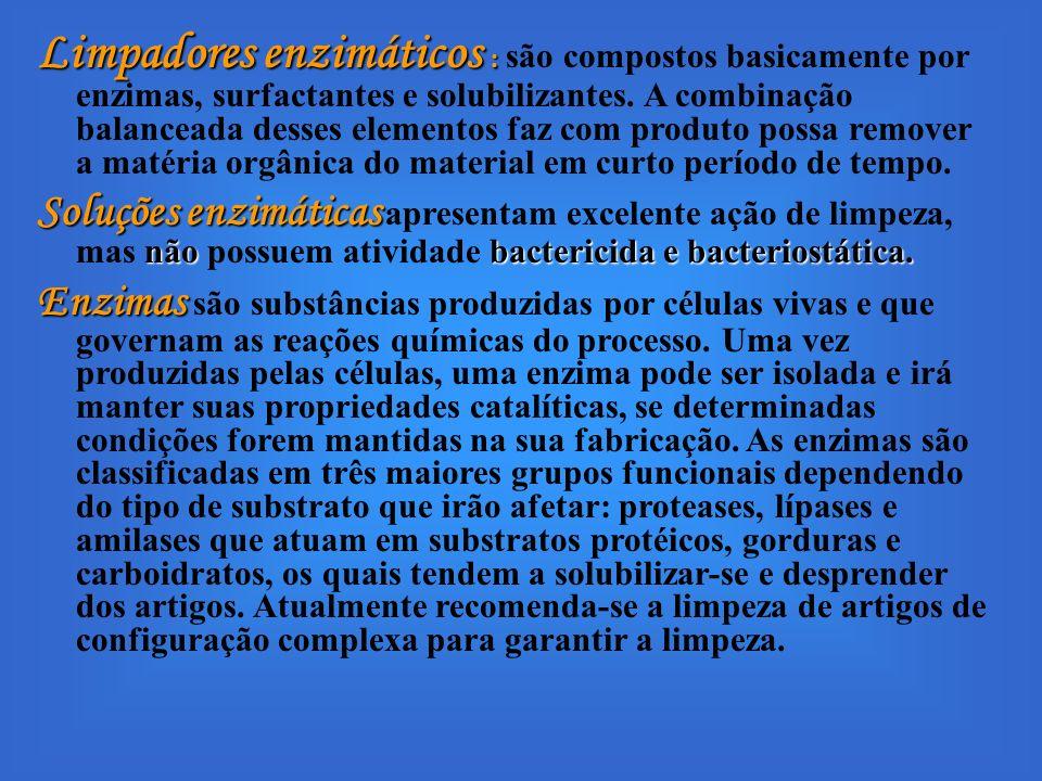 Limpadores enzimáticos : são compostos basicamente por enzimas, surfactantes e solubilizantes. A combinação balanceada desses elementos faz com produto possa remover a matéria orgânica do material em curto período de tempo.