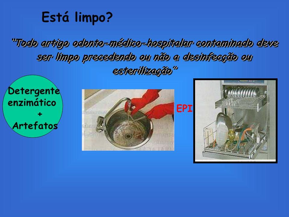Está limpo Todo artigo odonto-médico-hospitalar contaminado deve ser limpo precedendo ou não a desinfecção ou esterilização
