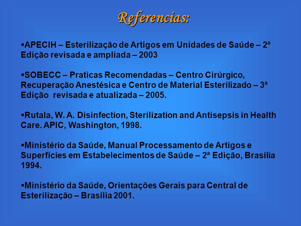 Referencias: APECIH – Esterilização de Artigos em Unidades de Saúde – 2ª Edição revisada e ampliada – 2003.