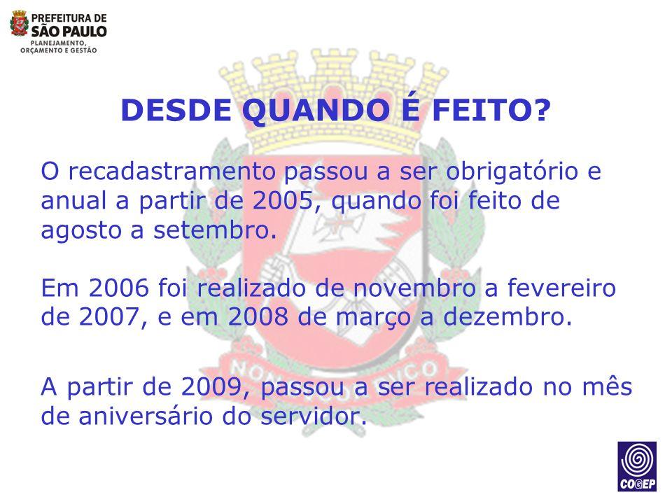 DESDE QUANDO É FEITO O recadastramento passou a ser obrigatório e anual a partir de 2005, quando foi feito de agosto a setembro.