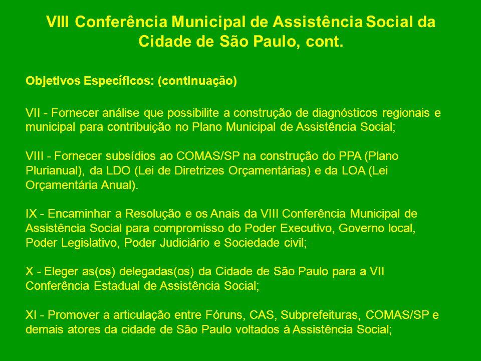 VIII Conferência Municipal de Assistência Social da Cidade de São Paulo, cont.