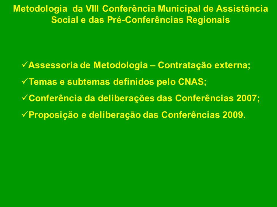 Metodologia da VIII Conferência Municipal de Assistência Social e das Pré-Conferências Regionais
