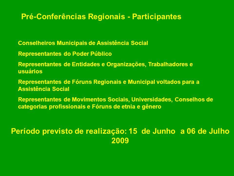 Pré-Conferências Regionais - Participantes