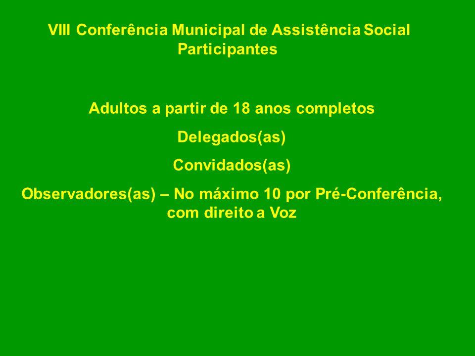 VIII Conferência Municipal de Assistência Social Participantes