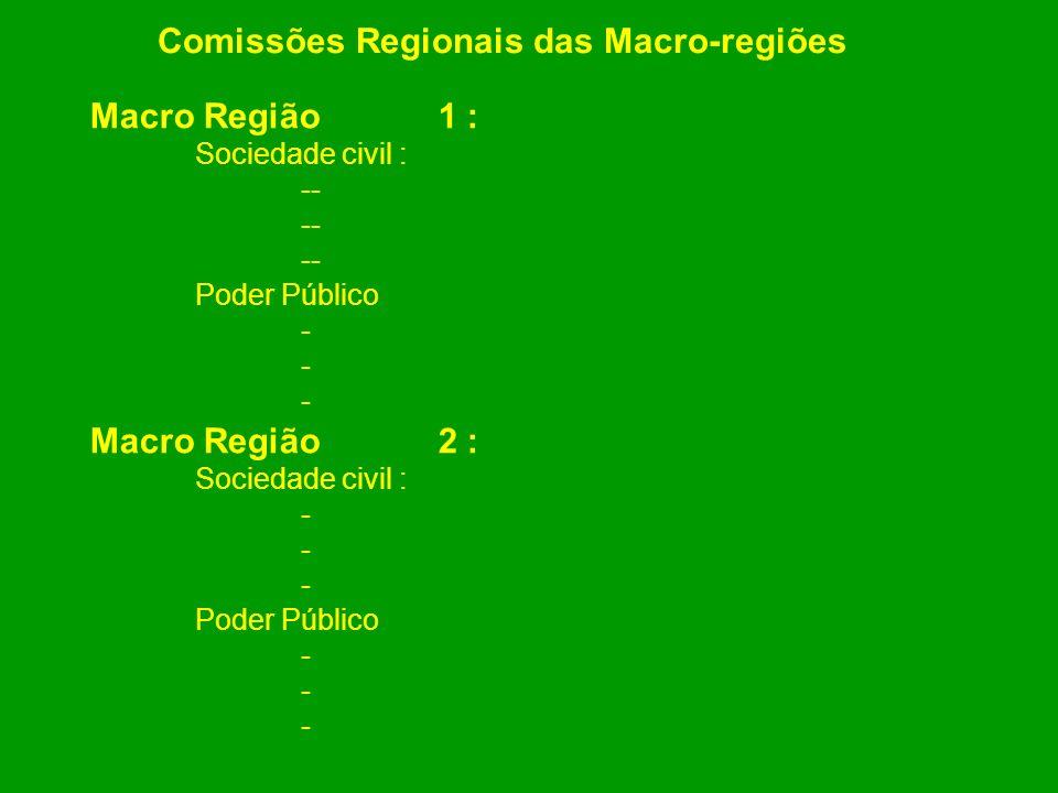 Comissões Regionais das Macro-regiões