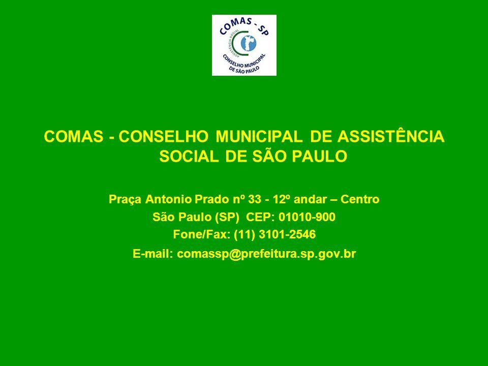 COMAS - CONSELHO MUNICIPAL DE ASSISTÊNCIA SOCIAL DE SÃO PAULO