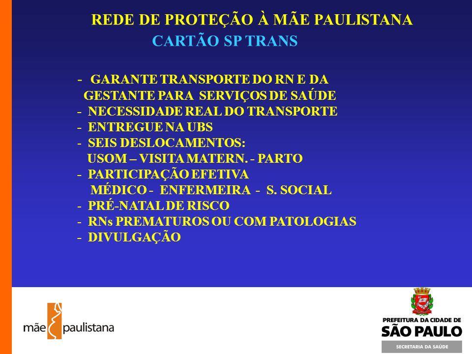 REDE DE PROTEÇÃO À MÃE PAULISTANA CARTÃO SP TRANS