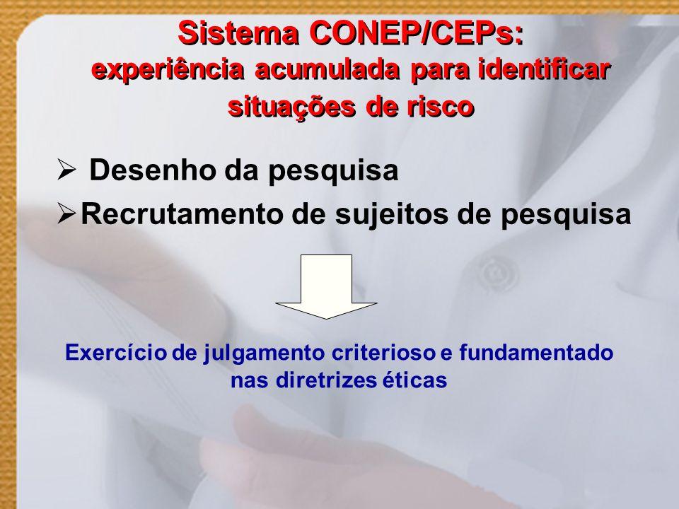 Sistema CONEP/CEPs: experiência acumulada para identificar situações de risco