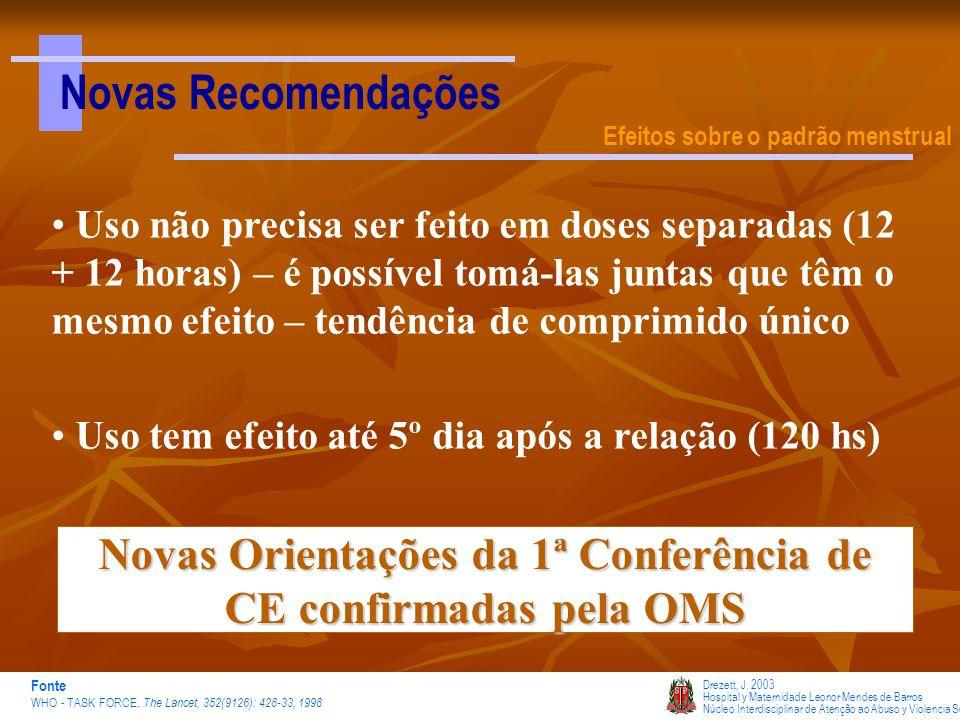 Novas Orientações da 1ª Conferência de CE confirmadas pela OMS