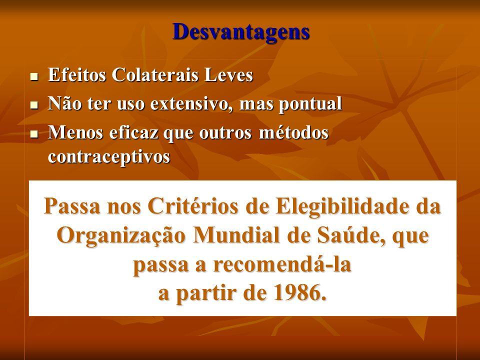 DesvantagensEfeitos Colaterais Leves. Não ter uso extensivo, mas pontual. Menos eficaz que outros métodos contraceptivos.
