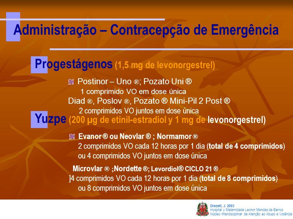 Administração – Contracepção de Emergência
