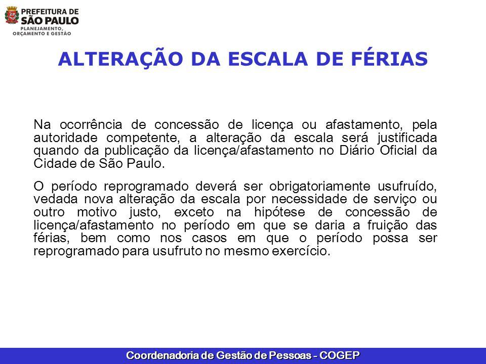 ALTERAÇÃO DA ESCALA DE FÉRIAS