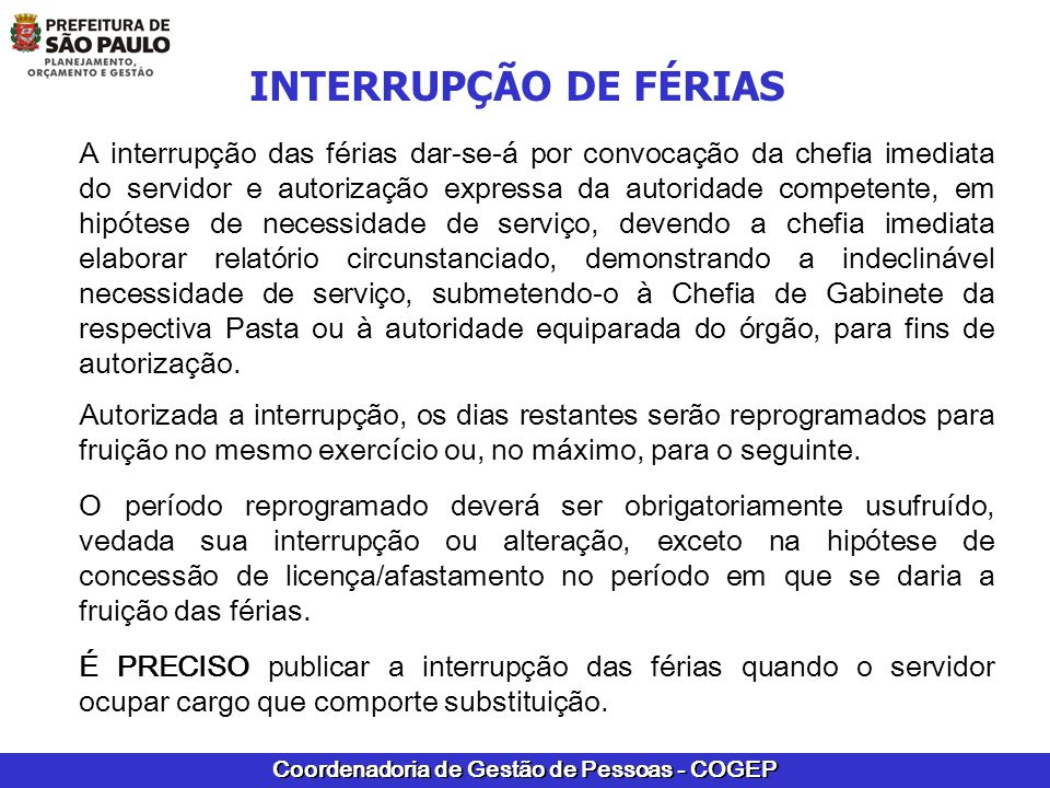 INTERRUPÇÃO DE FÉRIAS