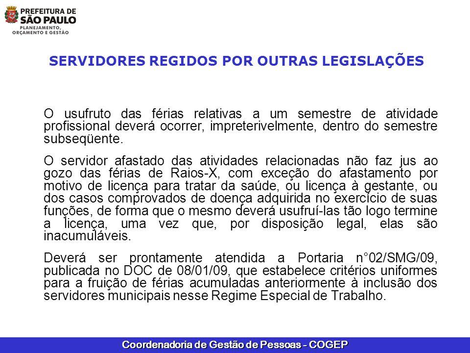 SERVIDORES REGIDOS POR OUTRAS LEGISLAÇÕES