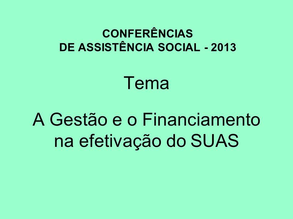 CONFERÊNCIAS DE ASSISTÊNCIA SOCIAL - 2013