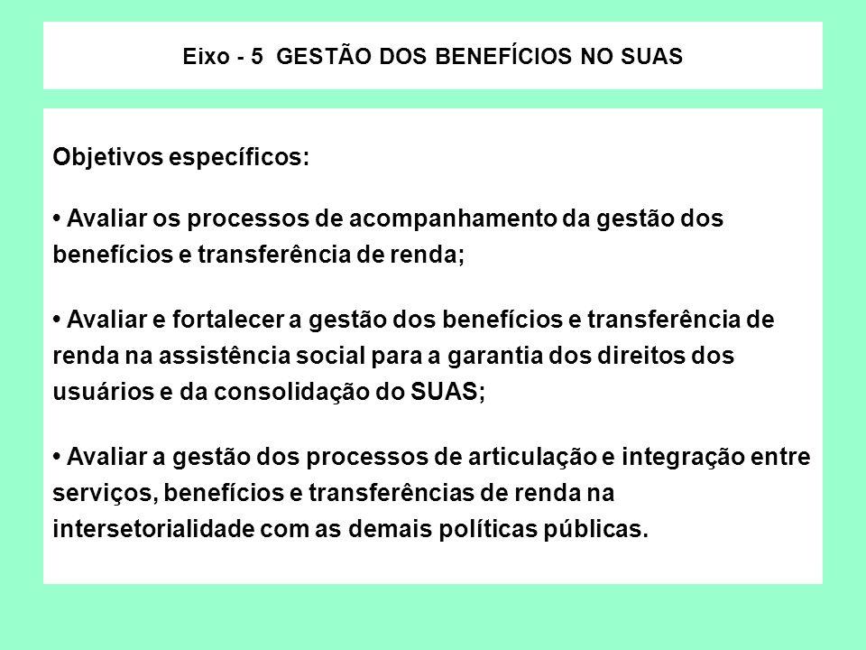 Eixo - 5 GESTÃO DOS BENEFÍCIOS NO SUAS