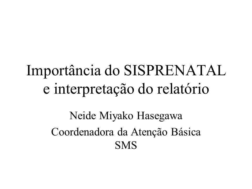 Importância do SISPRENATAL e interpretação do relatório