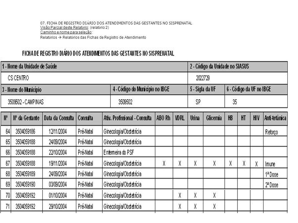 07. FICHA DE REGISTRO DIÁRIO DOS ATENDIMENTOS DAS GESTANTES NO SISPRENATAL. Visão Parcial deste Relatório: (relatório 2)