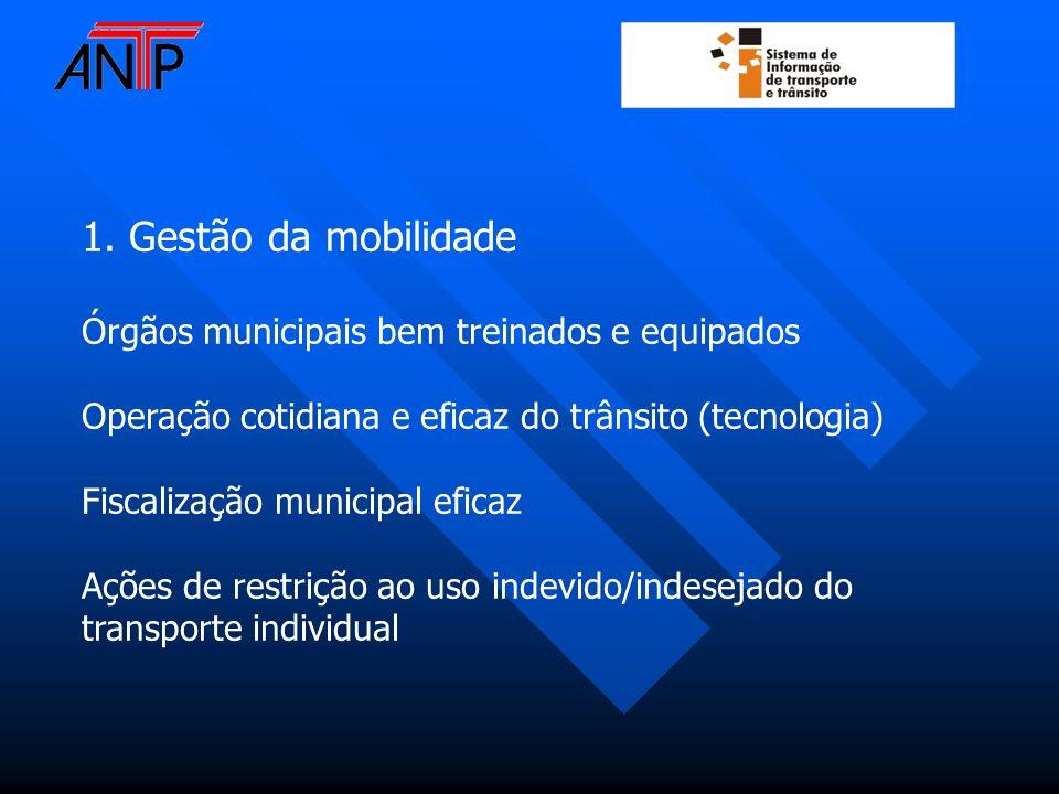 1. Gestão da mobilidade Órgãos municipais bem treinados e equipados