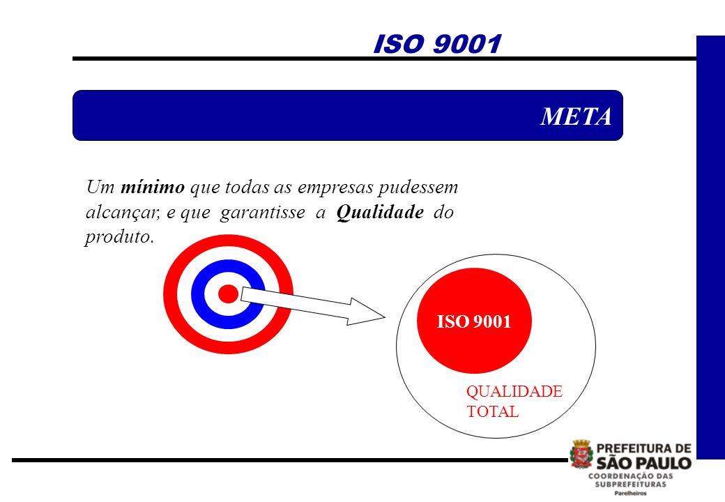 ISO 9001 META. Um mínimo que todas as empresas pudessem alcançar, e que garantisse a Qualidade do produto.