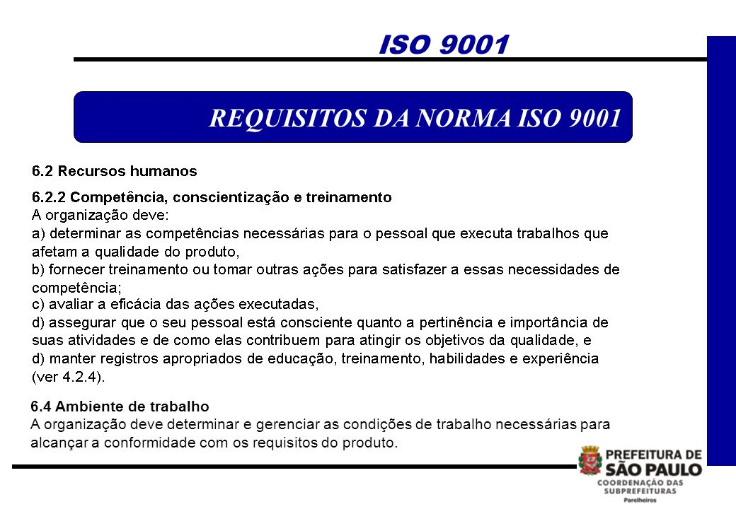 REQUISITOS DA NORMA ISO 9001