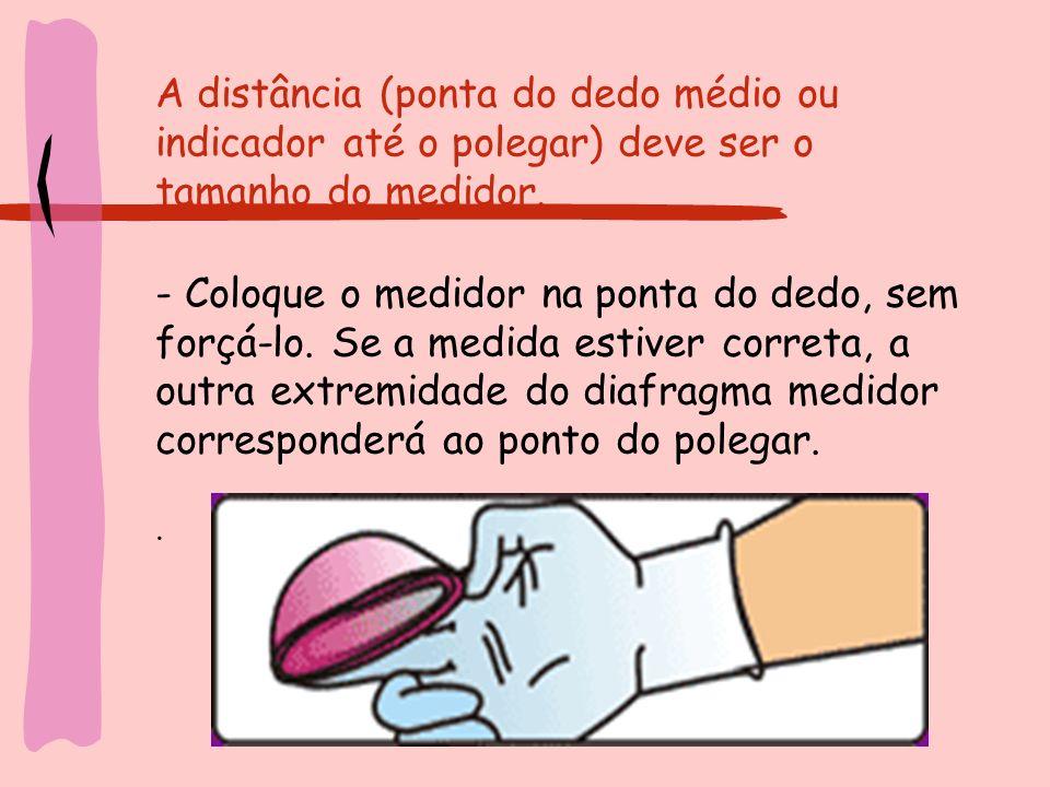 A distância (ponta do dedo médio ou indicador até o polegar) deve ser o tamanho do medidor.
