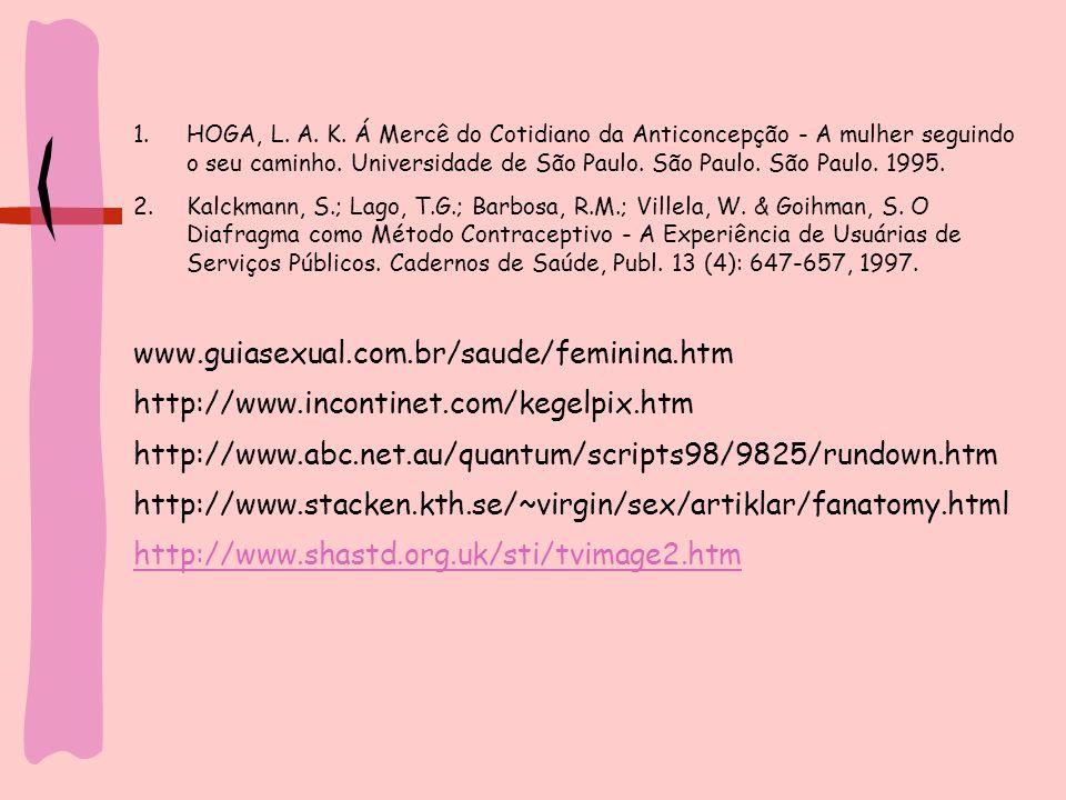 HOGA, L. A. K. Á Mercê do Cotidiano da Anticoncepção - A mulher seguindo o seu caminho. Universidade de São Paulo. São Paulo. São Paulo. 1995.