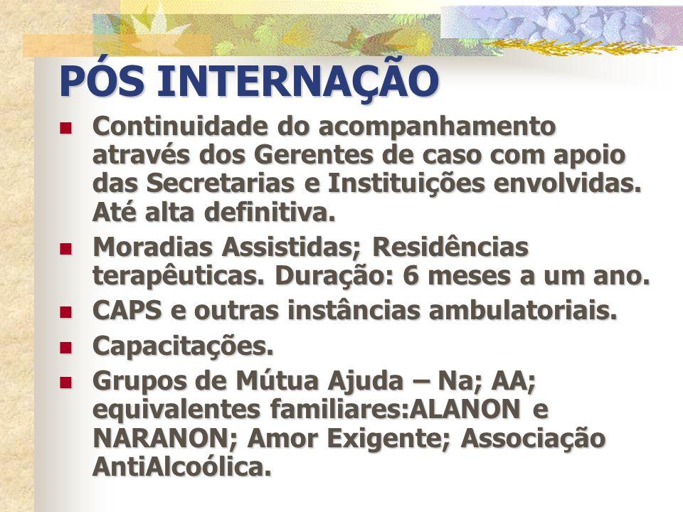PÓS INTERNAÇÃOContinuidade do acompanhamento através dos Gerentes de caso com apoio das Secretarias e Instituições envolvidas. Até alta definitiva.