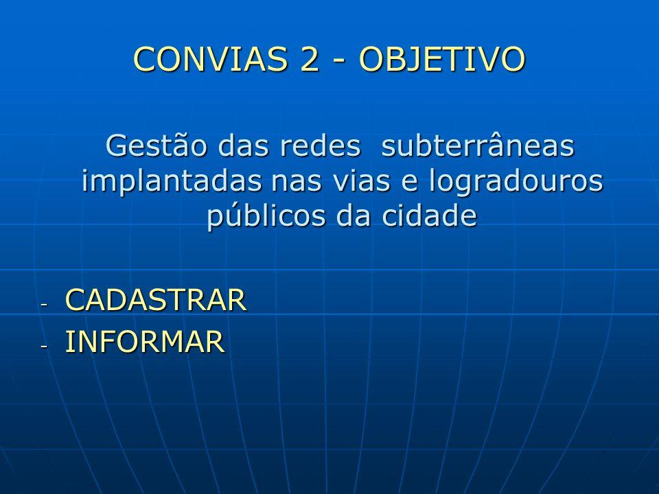CONVIAS 2 - OBJETIVO Gestão das redes subterrâneas implantadas nas vias e logradouros públicos da cidade.