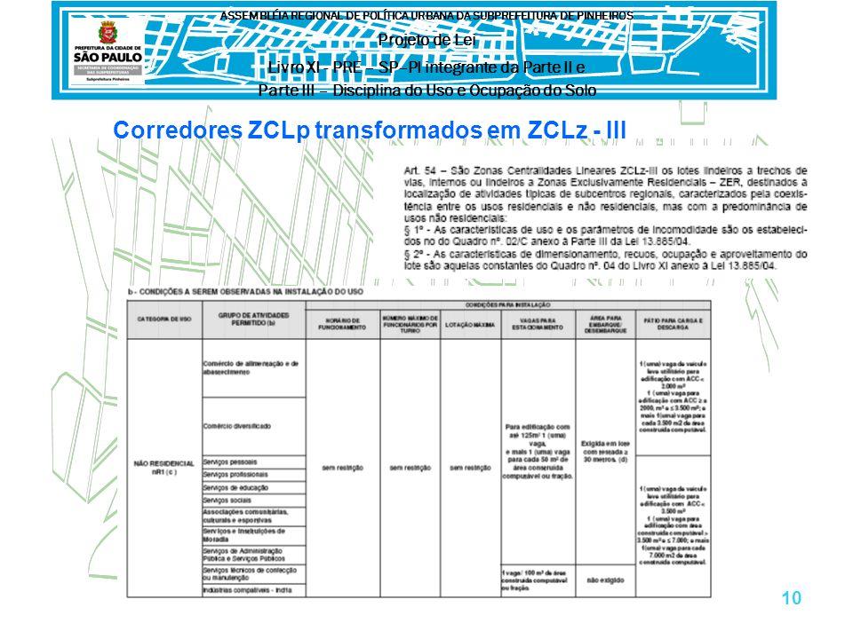 Corredores ZCLp transformados em ZCLz - III